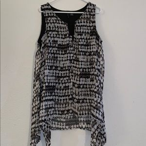 New Directions flowy tank top blouse XL black gray